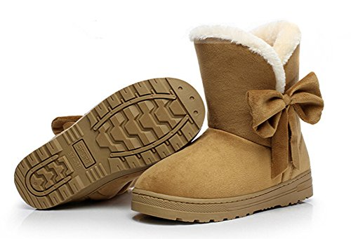 Suede Women's Ankle Shoes Brown Fur Bumud Boots Snow Winter Faux Flat EawUdqUS