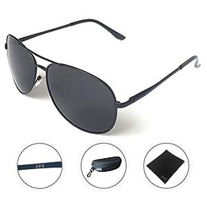 J+S Premium Military Style Classic Aviator Sunglasses, Polarized, 100% UV protection (Large Frame - Black Frame/Black Lens)