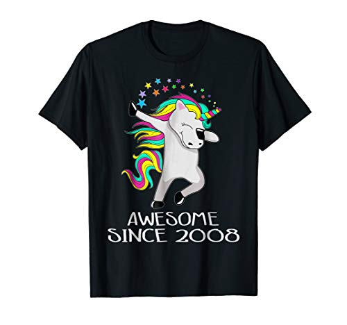 Kid 10 Yrs Old 10th Birthday Unicorn Shirt Gift 2008 Dabbing