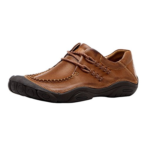 Optima Mens Scarpe Stringate Casual In Vera Pelle Marrone Chiaro