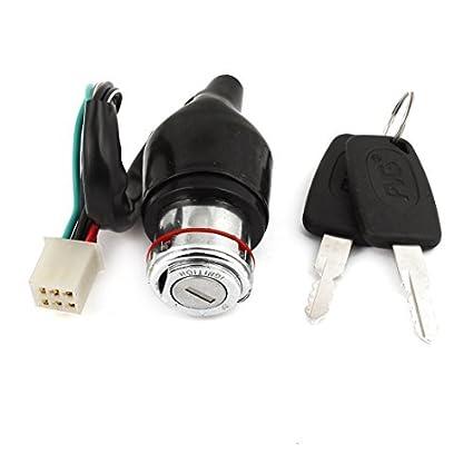 Metálicas seis alambres eléctricos de seguridad cerradura de puerta Negro para Suzuki GN125
