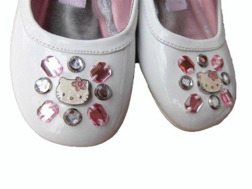 HELLO KITTY - weisse Ballerinas - Lack - mit Riemchen und kleinen Schmucksteinchen - Kleinkind - Mädchen - Motiv Hello Kitty - Gr. ca. 24 (US 8)