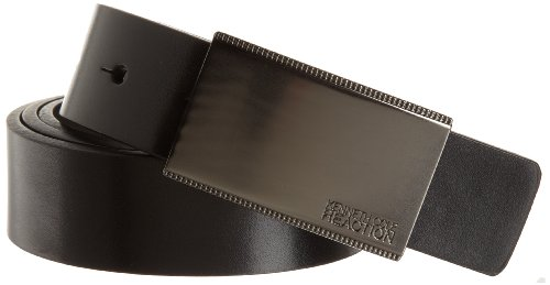 [Kenneth Cole REACTION Men's Calf Grain Reversible Belt] (Rounded Square Buckle Belt)