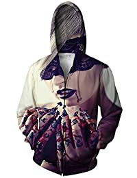 Unisex 3D Digital Printed Drawstring Pockets Zipper Hoodie Sweatshirts