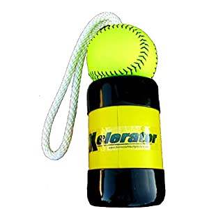 The Mini Xelerator 10u Fastpitch Softball Pitching Training Aid And Warm Up Tool With 11 Inch Premium Leather Indoor Ball For Improved Grip