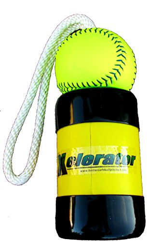 The Mini Xelerator 10u Fastpitch Softball Pitching Trainer and Warm Up Tool with 11 Inch Premium Leather Indoor Ball for Improved Grip (Indoor Softball)