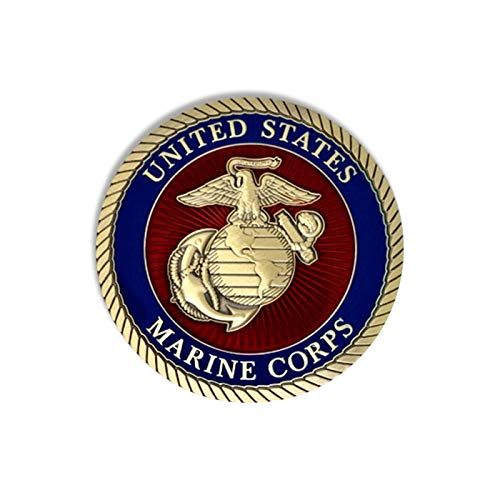United States Marine Corps 3'' Solid Brass Hand Enameled Medallion by Montres Chaton USA Inc