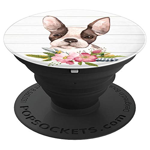 Cute Boston Terrier Dog Lover Flowers Drawing Art - PopSockets Grip and Stand for Phones and Tablets