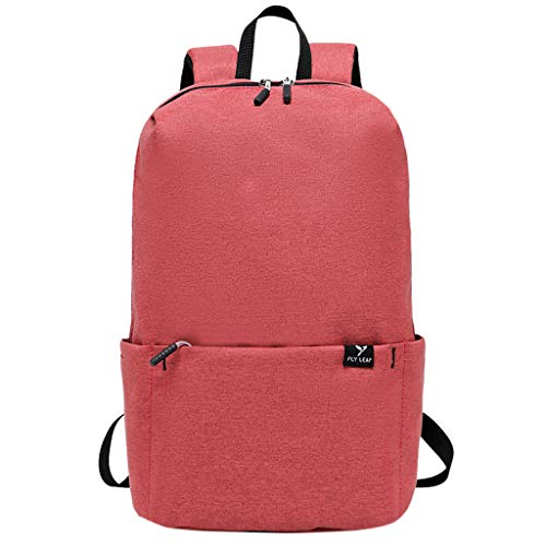 Lightweight Backpack for School, Swyss Classic Simple Solid Color Rucksack Casual Daypack for Travel and Daily Use,Watermelon Red