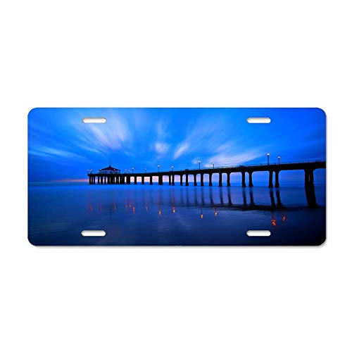 Blingreddiamond Lighted Pier Personalized Novelty Front License Plate Decorative Vanity Aluminum Car Tag Sign 4 Holes (Right Pier Lighted)