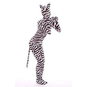 - 41HfG2w8mPL - Nedal Lycra Spandex Zebra Bodysuit Halloween Skin Suit Animal Costume