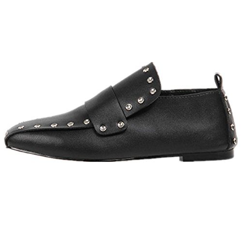 Nueva cabeza cuadrada zapatos del remache zapatos de cuero planos del estilo de los zapatos de cuero zapatos planos individuales femeninos Black