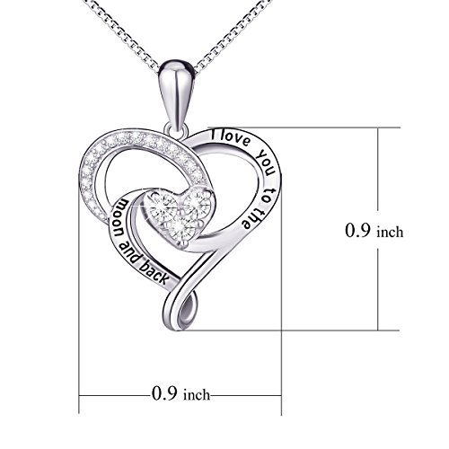 "925 Sterling Silver Jewelry ""I Love You To The Moon and Back"" Love Heart Pendant Necklace"