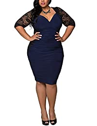 Dilanni Women Party Deep-V Neck Lace Dress Plus Size (0X-5X)