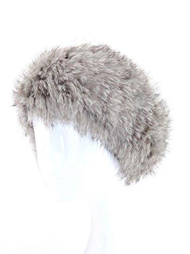 Fur Winter Knit Rabbit Fur Ski Snow Plush Headwrap Headband Earwarmer Neckwarmer GRY