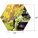 iPrint Hexagon Wall Sticker,Mural Decal,Wine,Agriculture Country Theme Natural Landscape Product Alcoholic Drink Fruit Decorative,Light Green Black Brown,for Home Decor 4.52x7.87 10 Pcs/Set