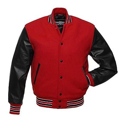 C113 Red Wool Black Leather Varsity Jacket Letterman Jacket