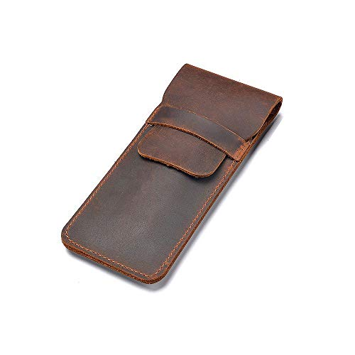 Daimay Leather Pen Case Holder Handmade Fountain Multi Pens Pouch Crazy Horse Leather Pen Protective Sleeve Cover Large - Brown (Leather 2 Pen Case)