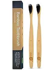 Lavish Essentials - Best Canadian Bamboo Toothbrush, Charcoal Toothbrush Bamboo, Wooden Toothbrush Charcoal, Bamboo Toothbrushes Biodegradable, Biodegradable Handle | 2-Pack | Organic & Biodegradable