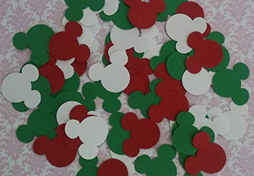 200 Mickey & Minnie Mouse Red White & Green Party Confetti Die Cuts Table Decor 1