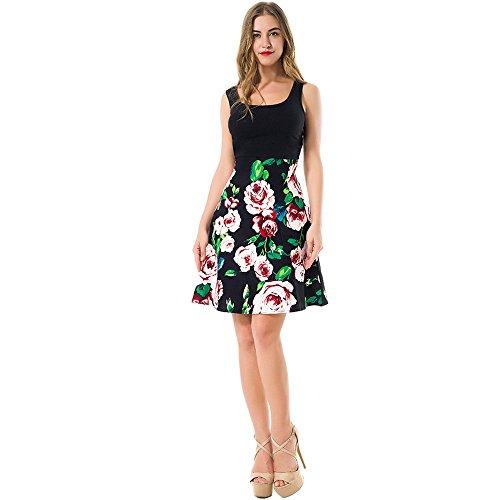 vestimenta Vintag casual sin Nueva Floral verde vestido verano de Rockabilly Feminino 2017 mujer vestido La Midi de cuello boca depósito Vestido mangas vestido nTqwxaPCO