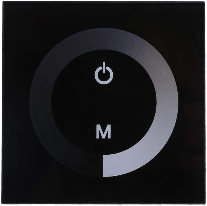 Controlador de panel táctil de pared DC 12V-24V Regulador de brillo ajustable para un solo color Tira de luz LED(Negro)