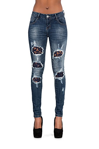 Jeans Lace Blue mujer Navy skinny Ripped Vaqueros LustyChic para Ox0qwfX8Oz