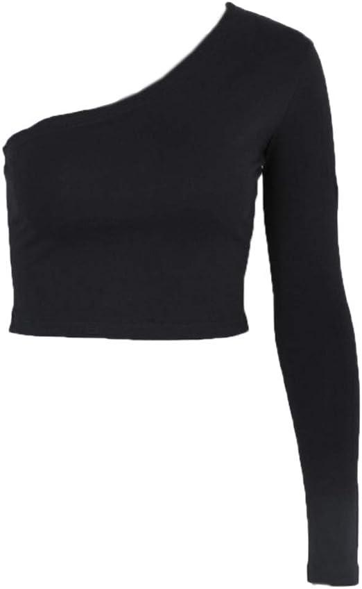 ruiruiNIE Camisa con Manga Corta, Blusa Corta, Manga Larga, Mujer, con un Hombro, Camiseta Delgada y Sexy - Negro-S: Amazon.es: Hogar