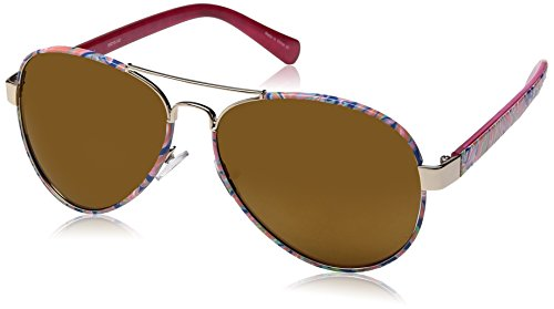 (Lilly Pulitzer Women's Ainsley Polarized Aviator Sunglasses, Shiny Gold/Banana Flambe, 59 mm)
