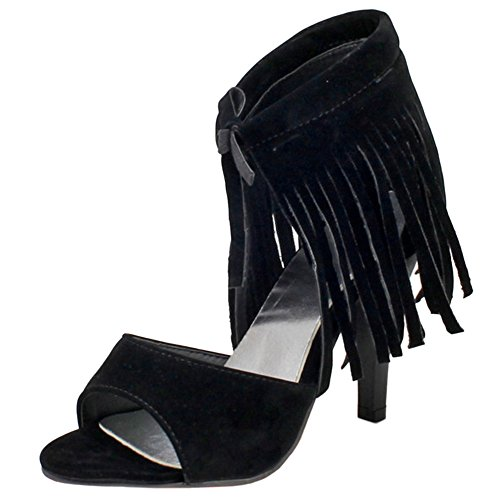 Toe Open Women Heels Sandals High Fashion TAOFFEN Lace Fringe with Up Black w0XdHdqI
