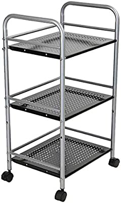 Mind Reader HOLECART3-SIL 3 Tier Metal Storage Box Black