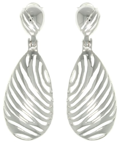 (Jewelry Trends Zebra Stripe Animal Print Oval Sterling Silver Dangle Earrings )