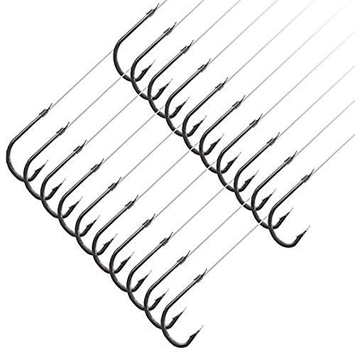 GuaziV Fishing Hooks Mono Line, Super Sharp Strong Fishing Hook Tie-in Nylon Fishing Line (Pack of 20) (Style-2, 3#) (Nylon Fishing Line)