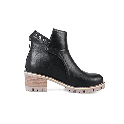 Womens Urethane ABL10111 Black Slip Platform Boots BalaMasa Buckle Resistant wdBRnPq