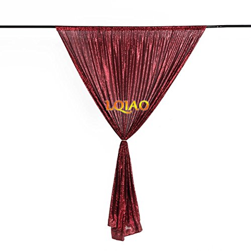 (LQIAO Burgundy Sequin Backdrop Curtain 4x10ft Sparkly Sequin Fabric Photo Booth Curtain Wedding Birthday Party Decoration)