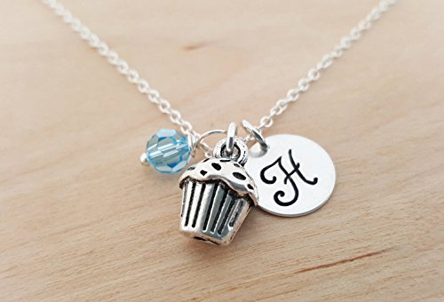 Cupcake Charm Necklace - Personalized Sterling Silver Jewelry