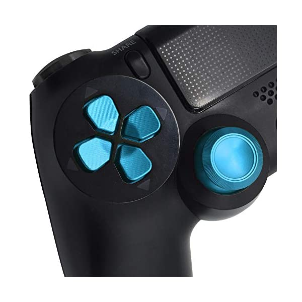 TOMSIN Metal Buttons for DualShock 4, Aluminum Metal Thumbsticks Analog Grip & Bullet Buttons & D-pad for PS4 Controller (Blue) 4