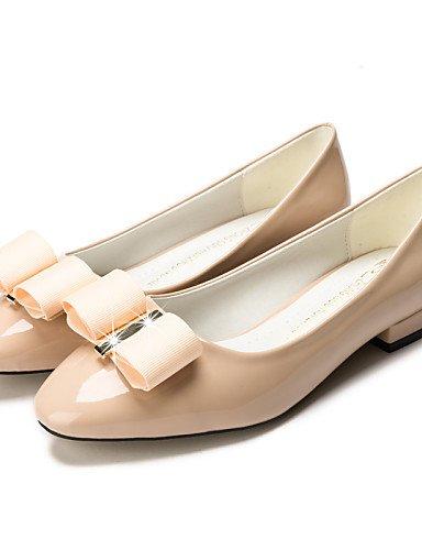 PDX/ Damenschuhe-Ballerinas-Kleid / Lässig-Kunstleder-Blockabsatz-Mokassin / Quadratische Zehe / Geschlossene Zehe-Schwarz / Rot / Mandelfarben almond-us6 / eu36 / uk4 / cn36