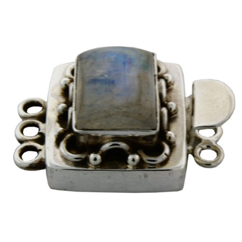 Sterling Silver Assorted Gemstone 3 Rows Jewelry Clasp. (Moonstone Sterling Silver Brooch)