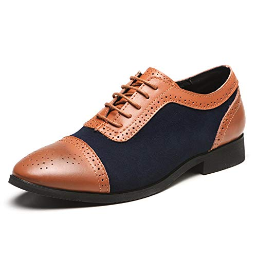 (Men's Classic Modern Formal Oxford Wingtip Lace Up Dress Shoes Blue)