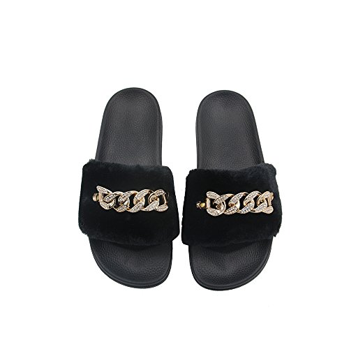 Sandals Slippers, Metal Chain Links with Crystals Fashion Women Flip Flop Fur Slide Slip On Flats Shoes,Black,36 W ()