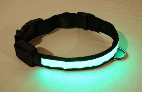 Adjustable LED Illumination Pet/Dog Collar, Medium, Green, My Pet Supplies