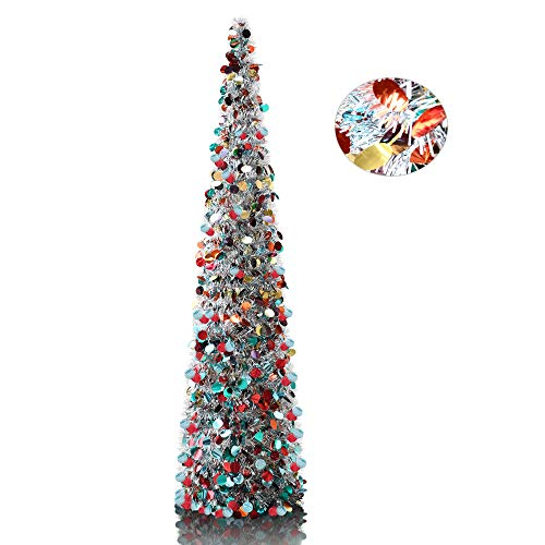 5' Silver Point Tinsel Pop-Up Artificial Christmas Tree,Collapsible Pencil Christmas Trees Features Sequins Accents for Apartments,Dorm Rooms,Fireplace or Party