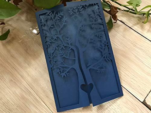 Pearl Paper Navy Blue Tree Laser Cutting Invitation Cards,Lace Birthday Greeting Cards,Invite Cards,Wedding Invitation 50pcs