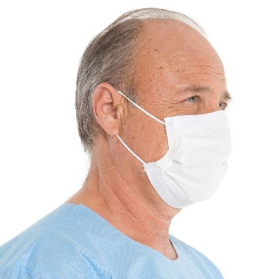 HALYARD SO SOFT Fog-Free Procedure Mask, Pleat Style w/Earloops, Sonically Bonded Foam Strip,White, 62363 (Box of 50)