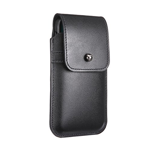 Blacksmith-Labs Barrett Mezzano 2017 Premium Oversized Genuine Leather Swivel Belt Clip Holster for Apple iPhone X for use with Apple Leather Case - Black Cowhide, Gunmetal Belt Clip by Blacksmith-Labs
