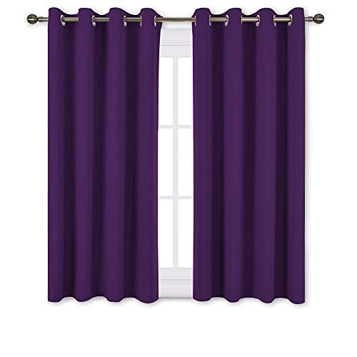 - NICETOWN Blackout Curtains Drapery Panels - Window Treatment Royal Purple Blackout Drapes for Bedroom/Living Room Window, 52 inch Wide X 45 inch Long, 2 Panel Set