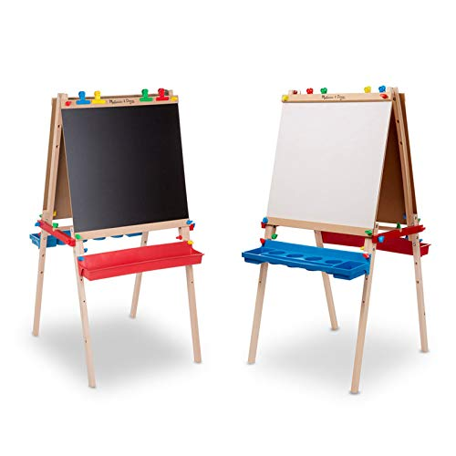 Room Easels - Melissa & Doug Deluxe Standing Art Easel - Dry-Erase Board, Chalkboard, Paper Roller
