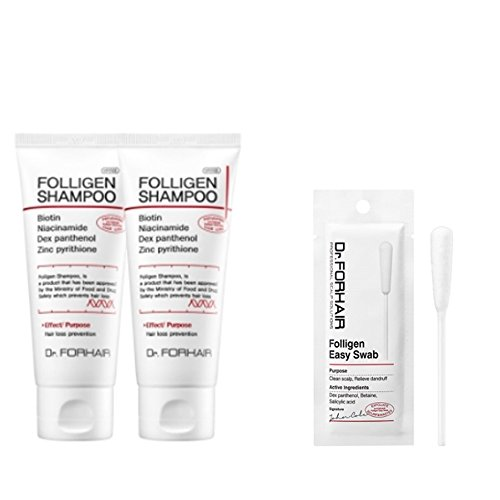 3.4 Fluid (Dr.forhair Folligen Hair Loss Prevention Shampoo 3.4 Fluid OunceX2 ,Dr.forhair Folligen Easy Swab)