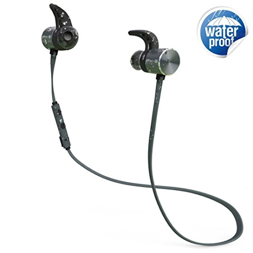 Bluetooth Headphones, Awxlumv Wireless Sports Earphones with Mic, Tested IPX5 Waterproof & Sweatproof Earbuds in HD Stereo, Dual Battery Noise Cancelling Headset for Gym, Workout & - Battery Stereo Headset